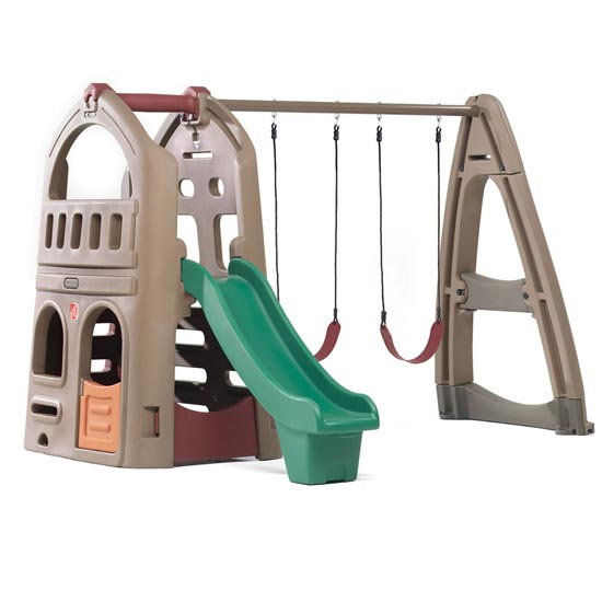 Naturally Playful Playhouse Climber & Swing Extension Front View