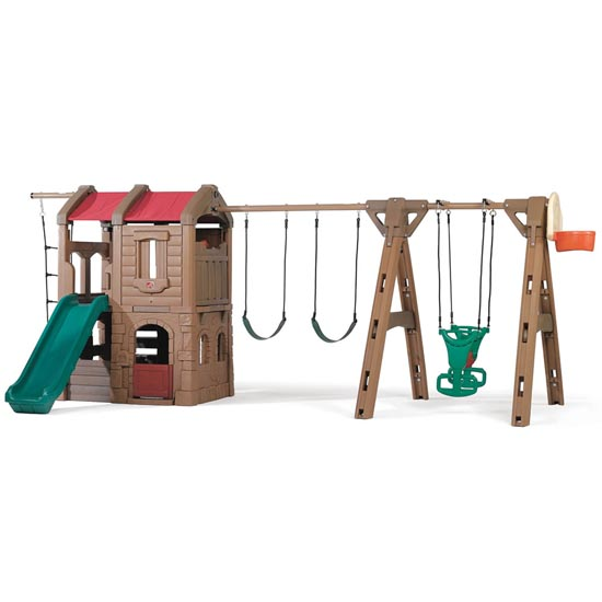 Naturally Playful Adventure Lodge Play Center with Glider Front View