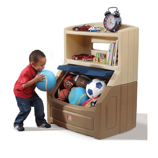 Step2 Lift & Hide Bookcase Storage Chest™ - Tan & Blue