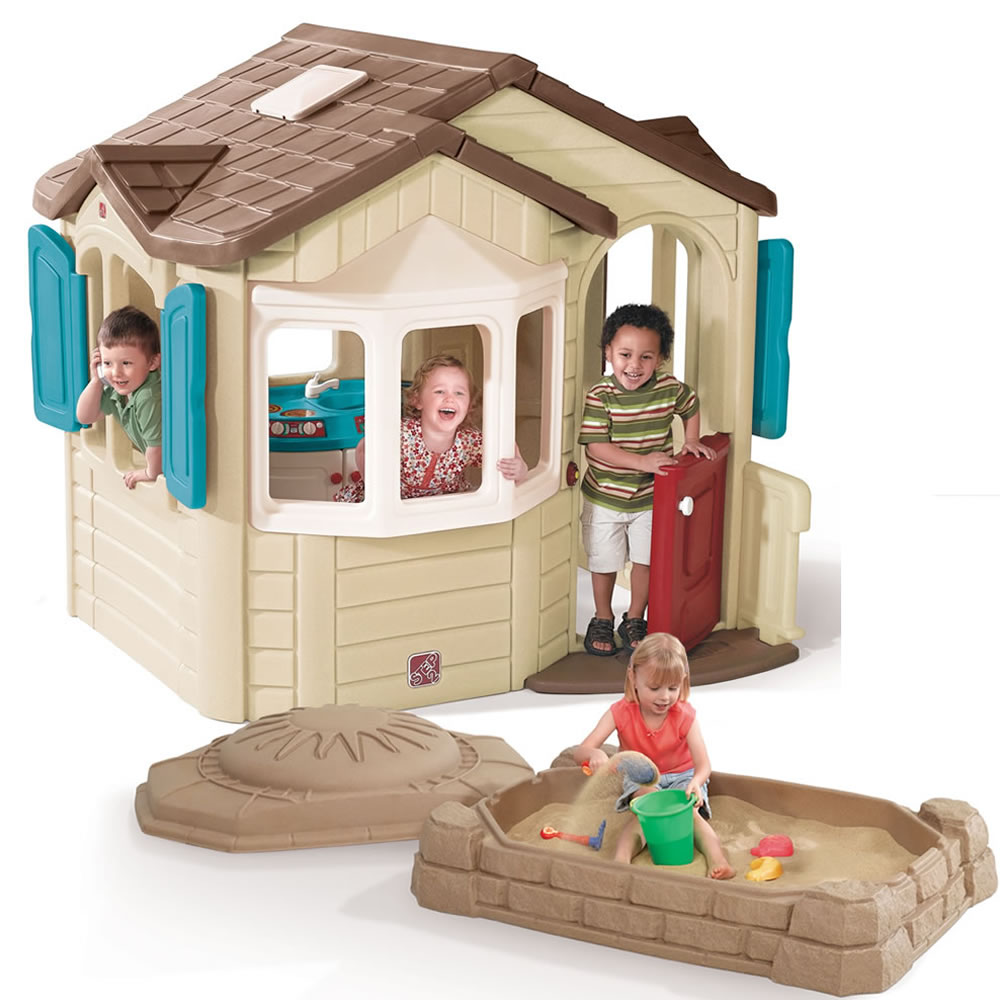 Naturally Playful Welcome Home Playhouse &amp; Sandbox Combo