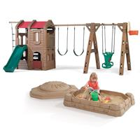 Adventure Lodge Play Center with Glider and Sandbox Combo