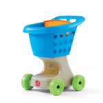Side view of pretend play shopping cart