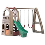 Naturally Playful Playhouse Climber & Swing Extension swing set