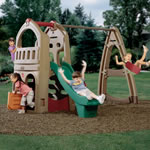 playhouse, slide and outdoor swing set