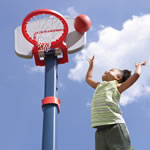 Adjustable height of basketball hoop
