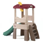 Kids playing on backyard climber