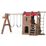 Back view of backyard swing set