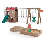 Adventure Lodge Play Center with Glider and Sandbox Combo outdoor swing set