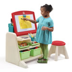 Flip & Doodle Easel Desk with Stool™ - Teal & Lime front view