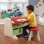 Flip & Doodle Easel Desk with Stool™ - Teal & Lime easel view