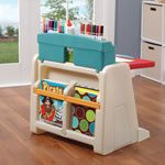 Flip & Doodle Easel Desk with Stool™ - Teal & Lime desk view