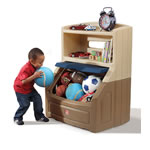 Lift & Hide Bookcase Storage Chest™ - Tan & Blue