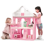 children playing with plastic dollhouse