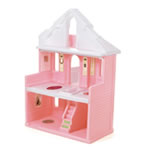 inside of pink dollhouse