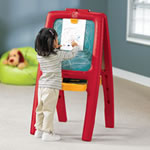 Chalkboard side of Easel for Two, Pink