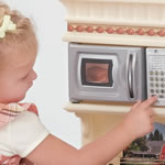 toy microwave on play kitchen