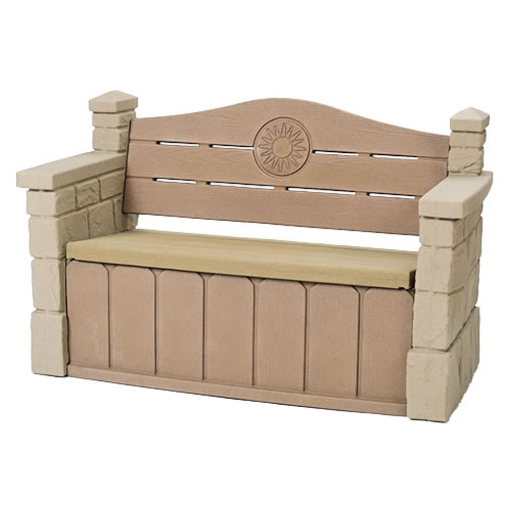 step2 outdoor storage bench garden deck box patio seat kids play yard pool toys