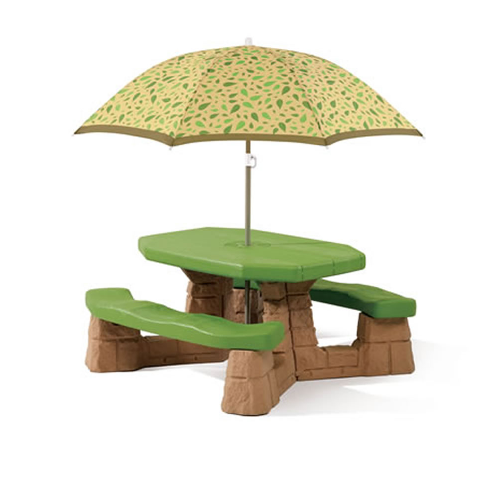 Step2 naturally playful picnic table umbrella leaf kids - Children s picnic table with umbrella ...