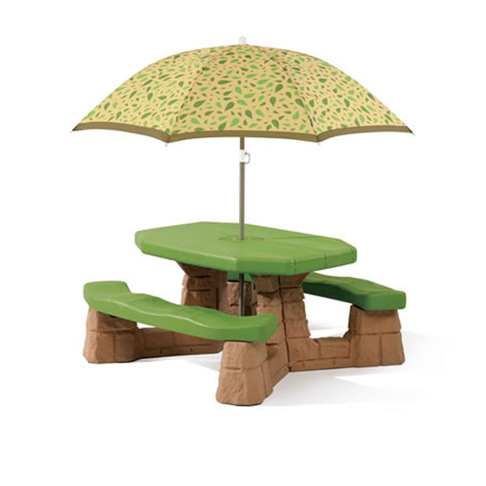 step2 naturally playful picnic table umbrella leaf kids outdoor furniture bench ebay. Black Bedroom Furniture Sets. Home Design Ideas
