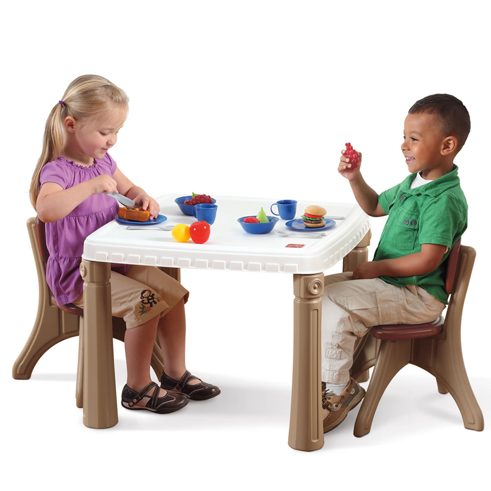 Lifestyle kitchen table chairs set kids furniture step2 for Kids sitting furniture