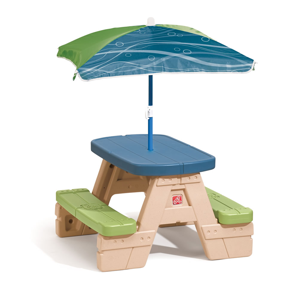 Sit play picnic table with umbrella step2 - Children s picnic table with umbrella ...