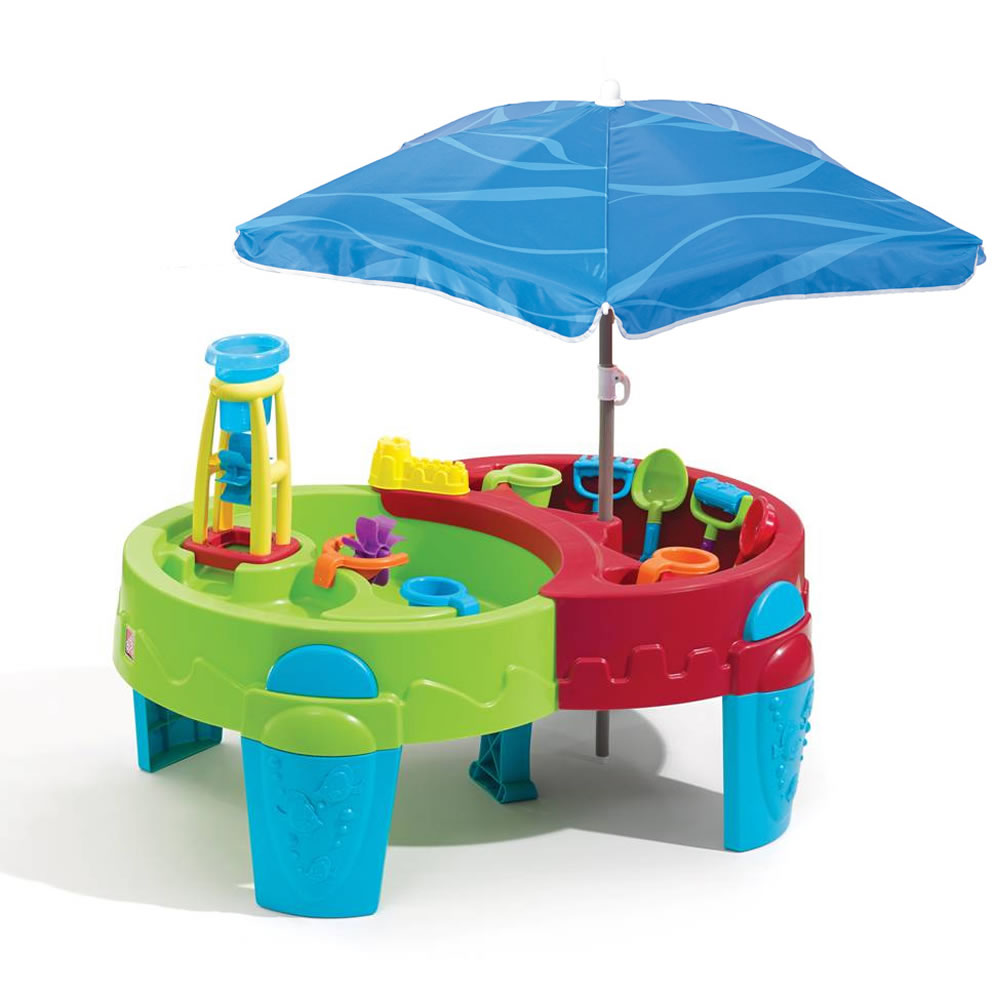 step2 shady oasis sand water play table with 42 umbrella ebay. Black Bedroom Furniture Sets. Home Design Ideas