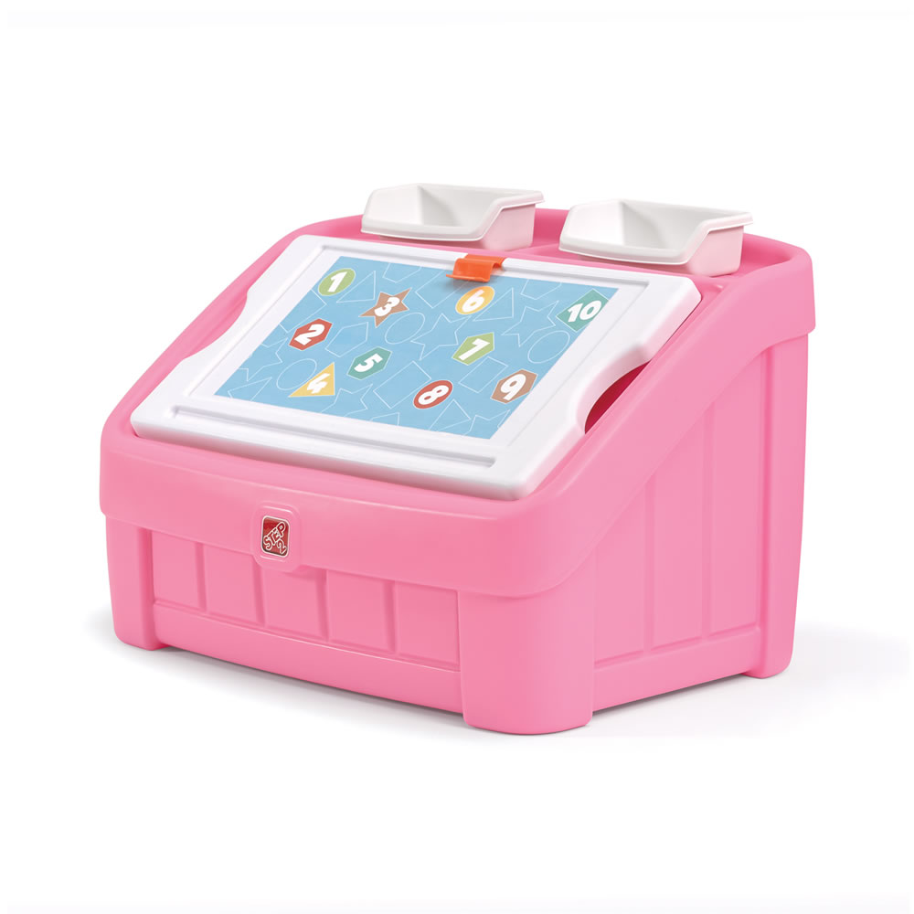 2 In 1 Toy Box Amp Art Lid Pink Kids Furniture By Step2