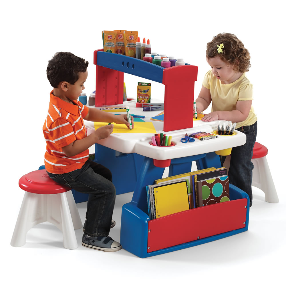 Step2 Creative Projects Table Red Blue Kids Art Desk