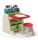 Click to View Product Details for Flip & Doodle Easel Desk with Stool™ - Teal & Lime