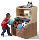 Click to View Product Details for Lift & Hide Bookcase Storage Chest™ - Tan & Blue