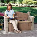 Sitting on Step2 Outdoor Storage Bench