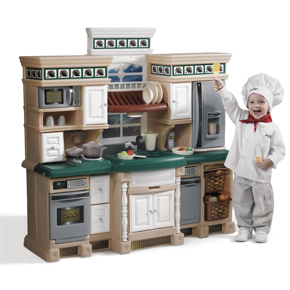 Lifestyle deluxe kitchen kids play kitchen step2 for Kitchen kitchen set