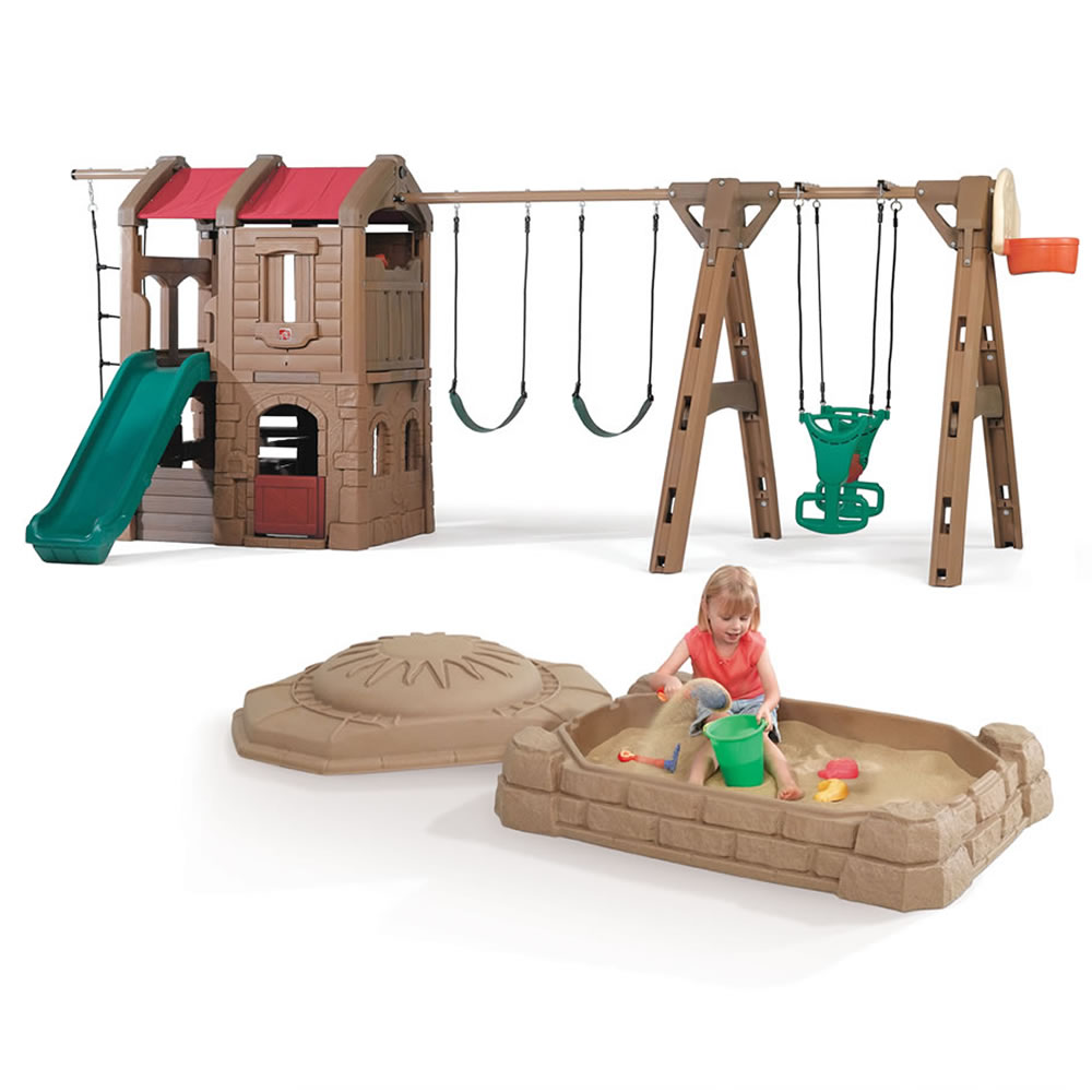 Adventure Lodge Play Center with Glider and Sandbox