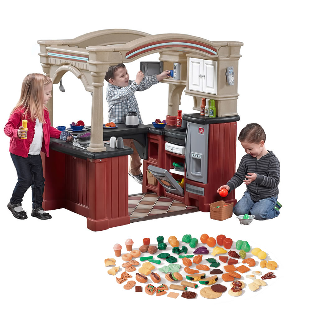 Step 2 Toy Food : Grand walk in kitchen with extra play food kids toy