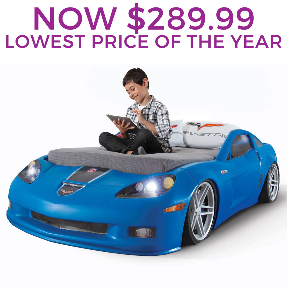 Step2 daily deal corvette toddler to twin bed with lights blue