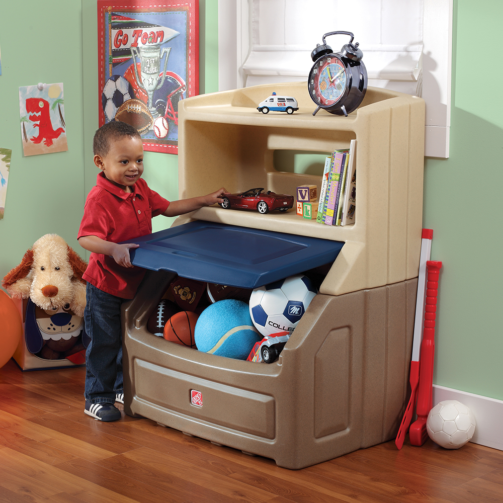 Plastic blue and tan storage best for kid's bedroom or playroom