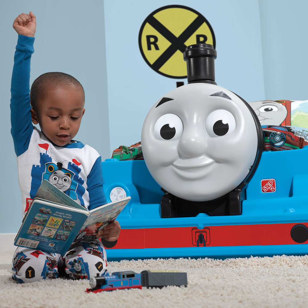 toddler with Thomas Bed