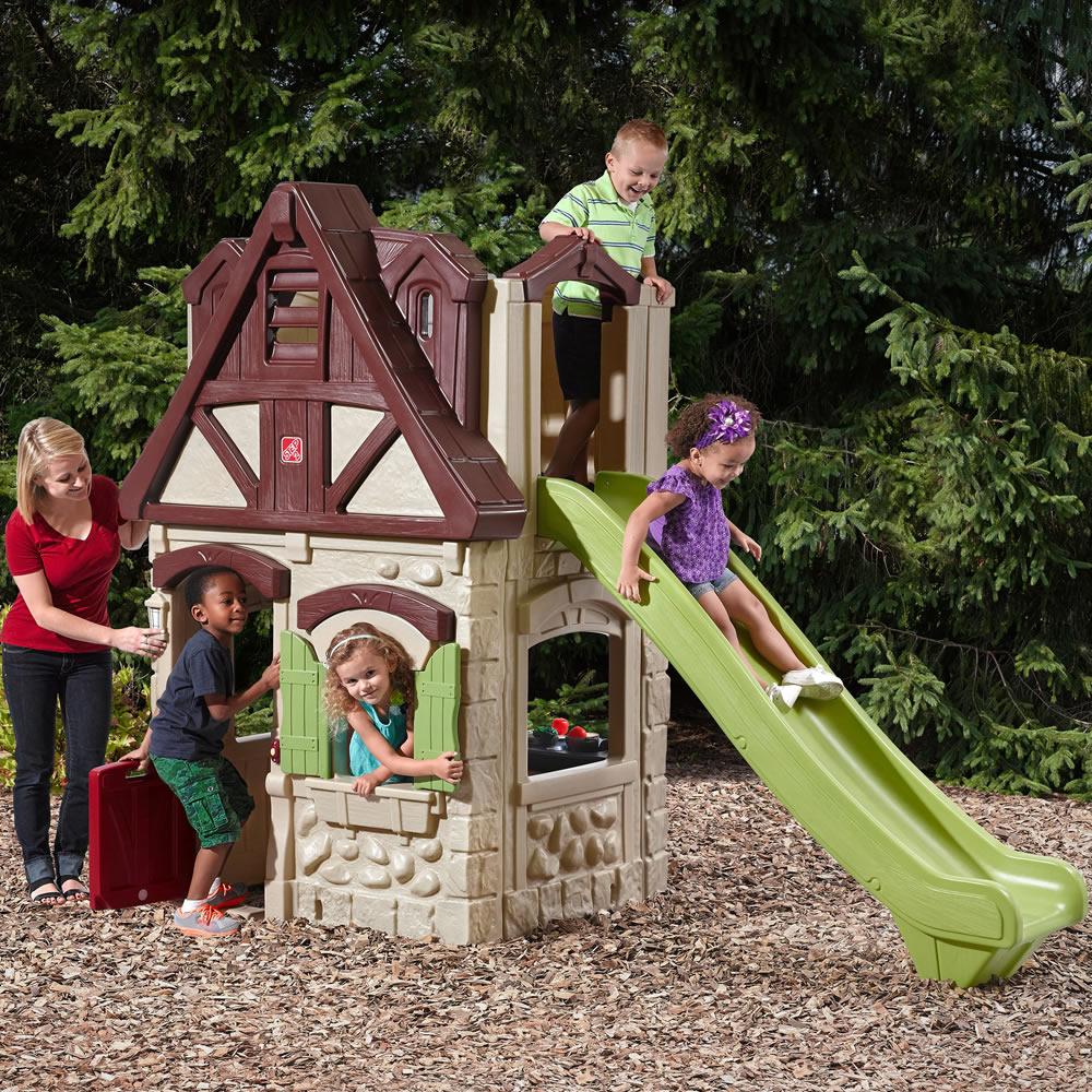 2 story playhouse slide kids playhouse step2. Black Bedroom Furniture Sets. Home Design Ideas