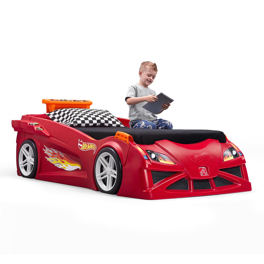 Hot Wheels Toddler-to-Twin Race Car Bed- Red