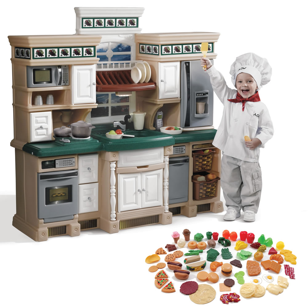 Step 2 Toy Food : Lifestyle deluxe kitchen with extra play food set kids
