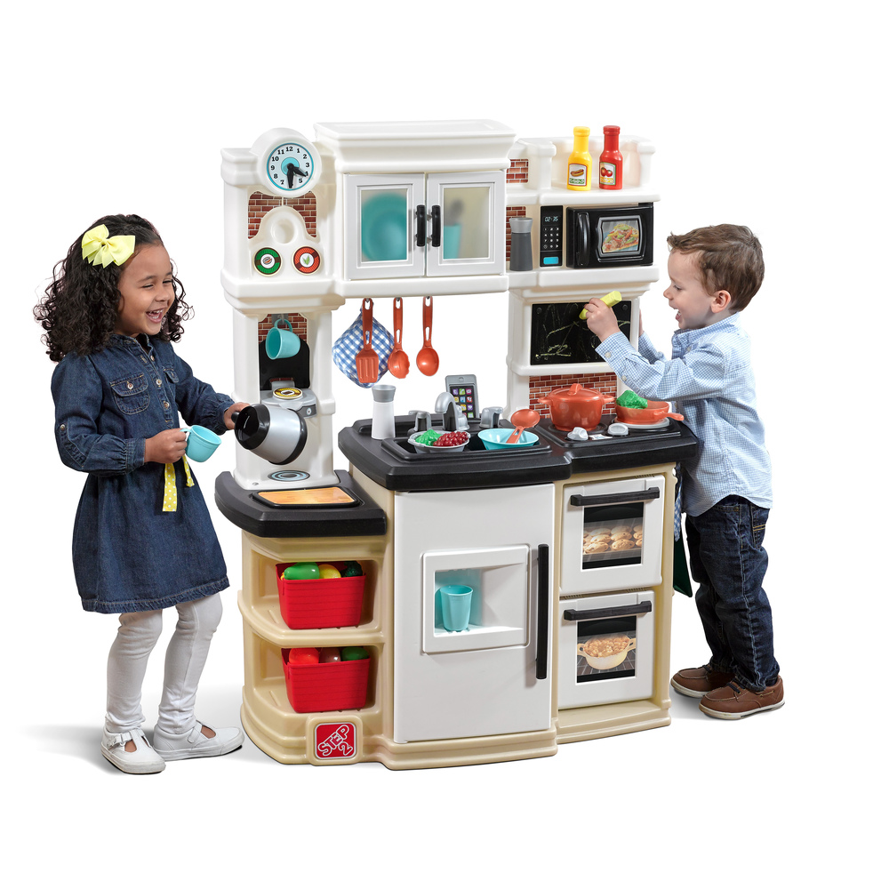 Great gourmet kitchen tan kids play kitchen step2 for Kids kitchen set sale