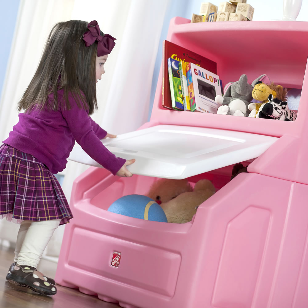 Carnival Toy Box Pink: Lift & Hide Bookcase Storage Chest - Pink