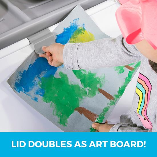 Step2 2-in-1 Toy Box & Art Lid - Gray easel clip