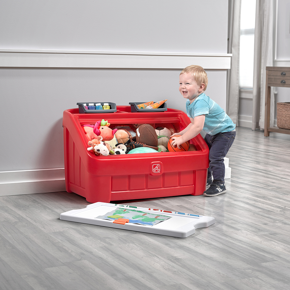 Step2 2-in-1 Toy Box & Art Lid - Red clean up
