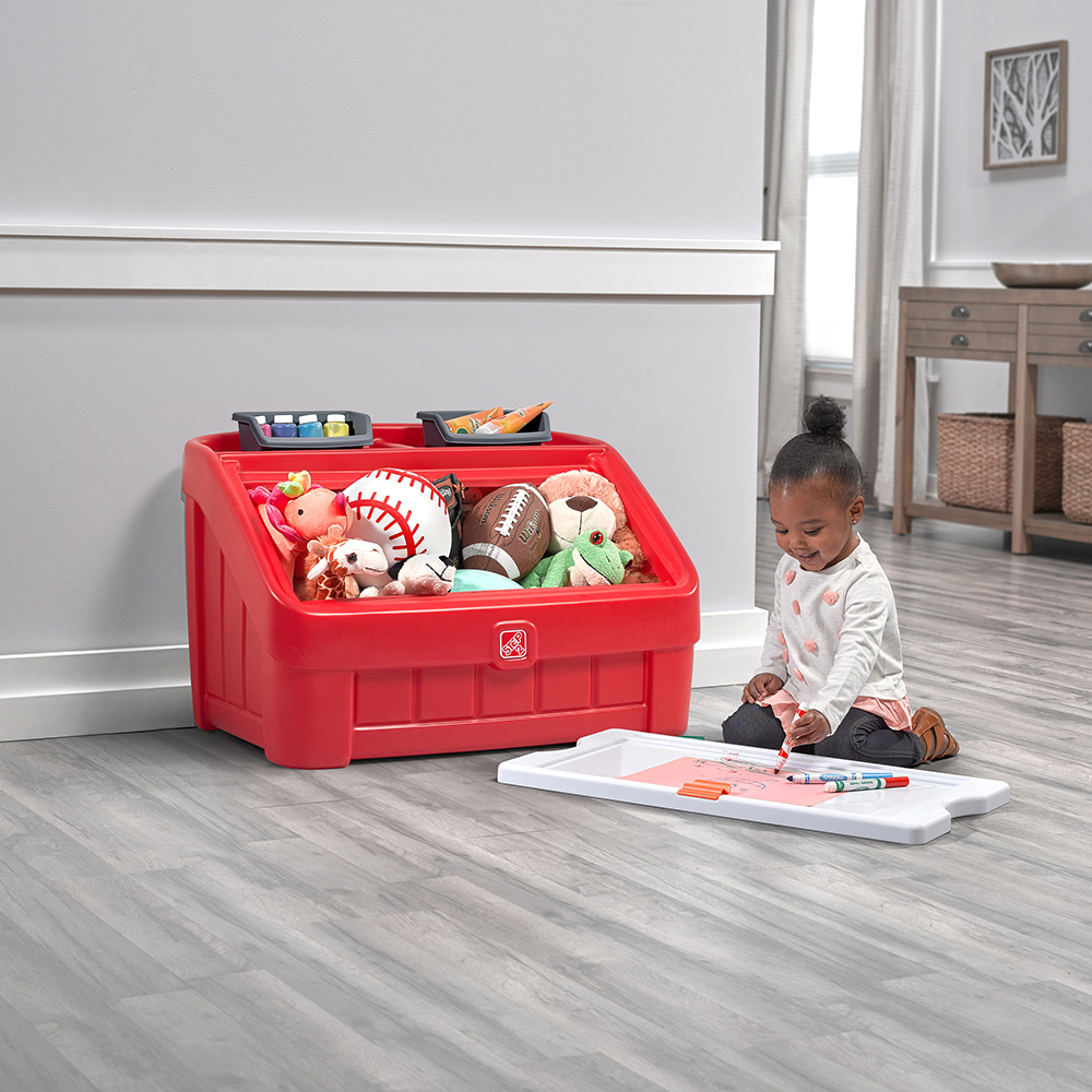Step2 2-in-1 Toy Box & Art Lid - Red coloring