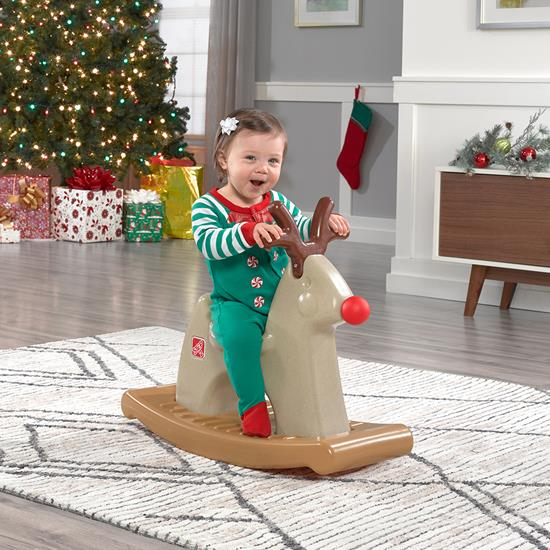 Step2 Rudolph the Rocking Reindeer kid riding the rocking horse