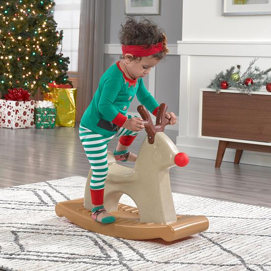 Step2 Rudolph the Rocking Reindeer kid getting off the ride-on horse