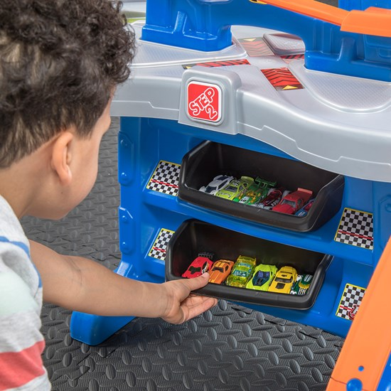 Step2 Hot Wheels Extreme Road Rally Raceway storage bins for cars