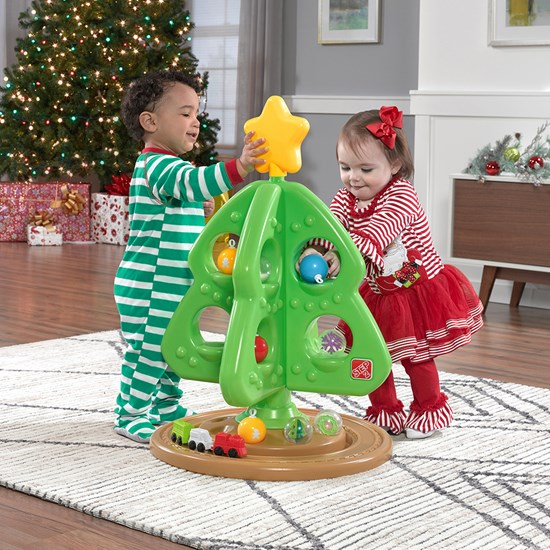 Boy and girl playing with Step2 My First Christmas Tree