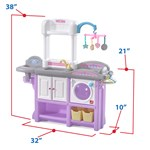 Open cabinet door showing storage of Step2 Love & Care Deluxe Nursery in Lavender
